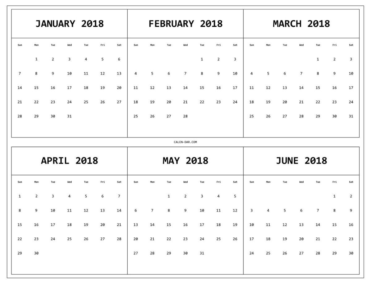 6 month one page printable calendar 2018 | monthly calendar