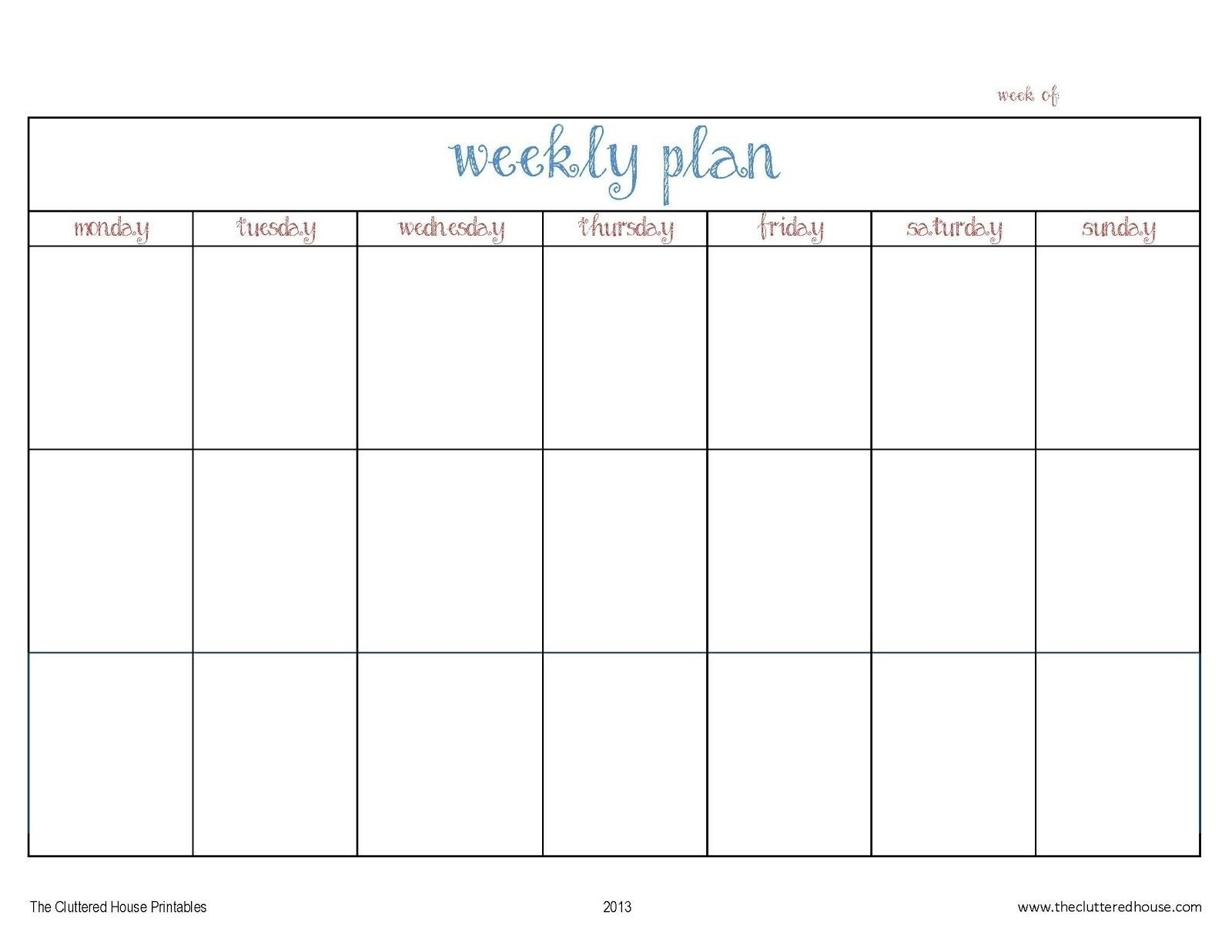 7 day weekly planner template printable – template calendar