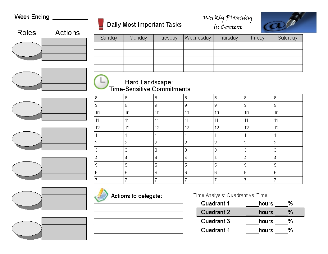 7h Wkly Planner 1,056×816 Pixels | Covey Weekly Planner