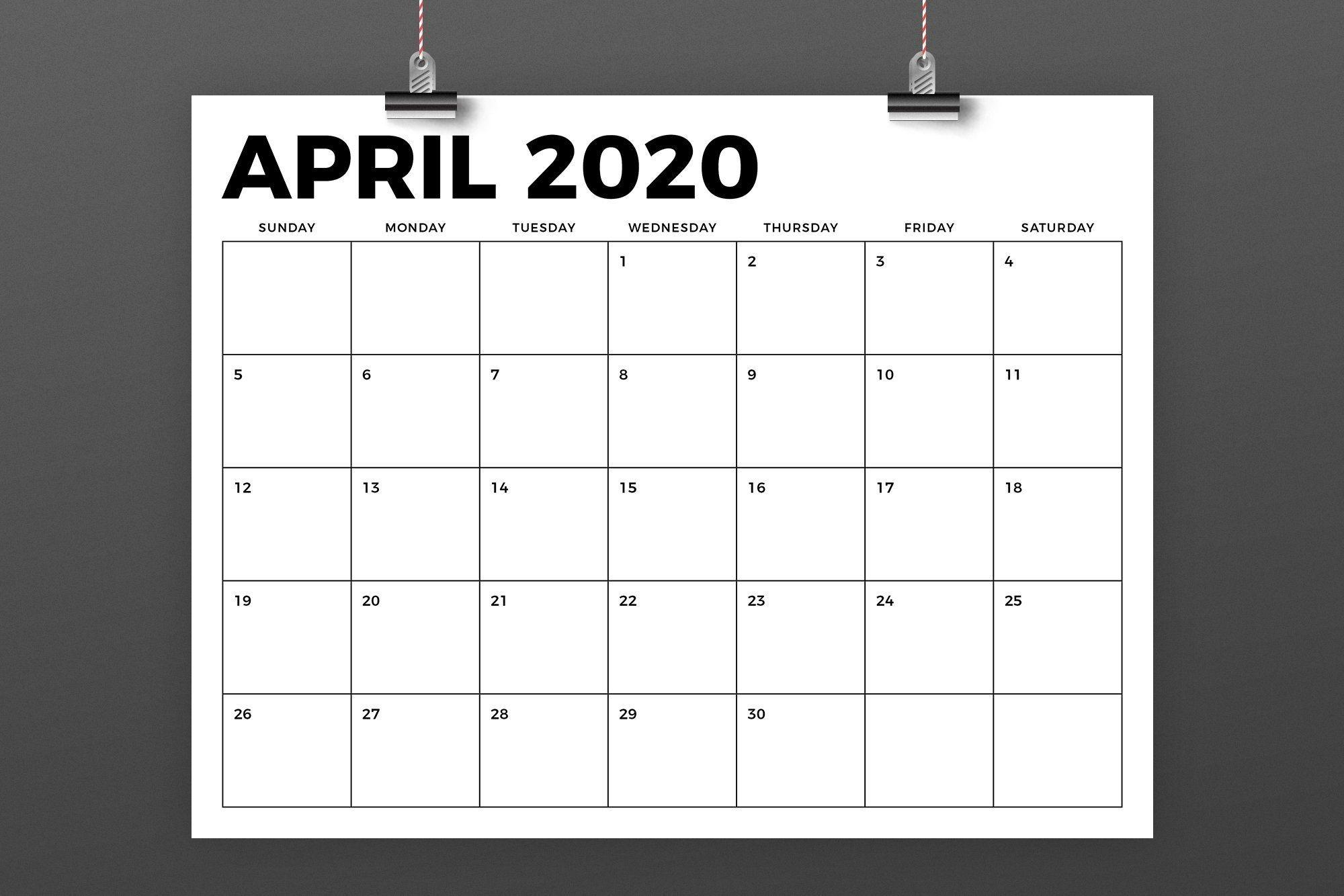 8 5 x 11 inch bold 2020 calendar in 2020 | calendar template