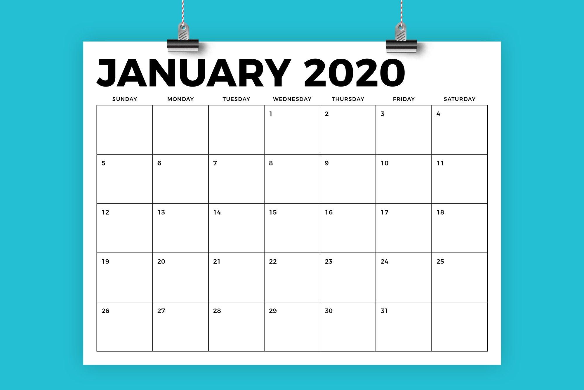8 5 X 11 Inch Bold 2020 Calendar