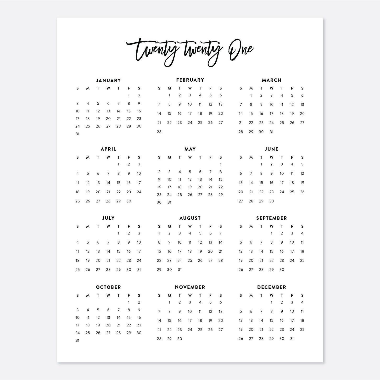 8 5x11 printable calendar 2021, letter calendar, 2021 year