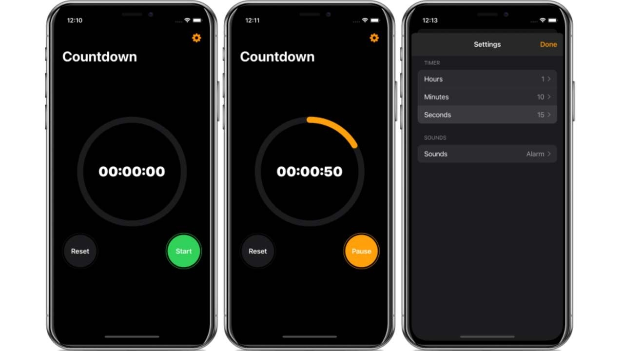 A Countdown Timer With Optional Alarm Sounds And Start, Pause