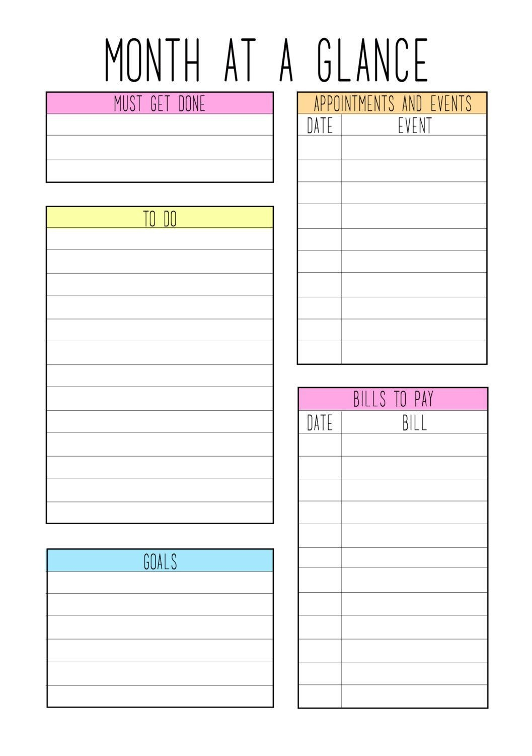 A5 Month At A Glance Color Theme | Planner Pages, Planner