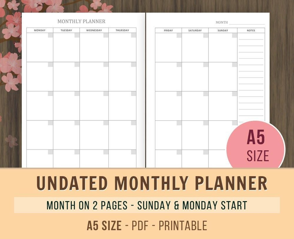 a5 monthly planner inserts undated calendar printable | etsy