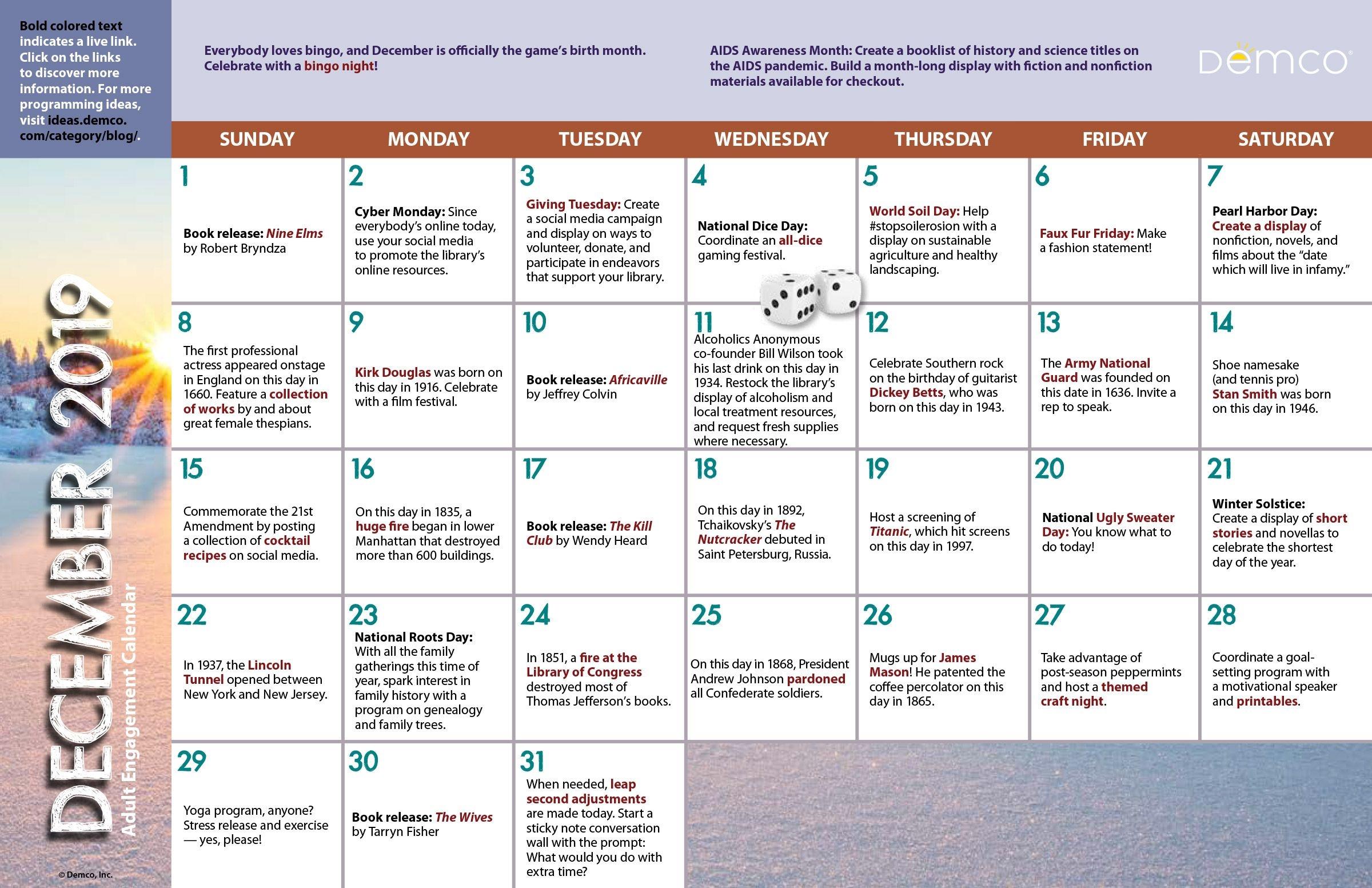 Adult Activity Calendar: December 2019 Ideas & Inspiration