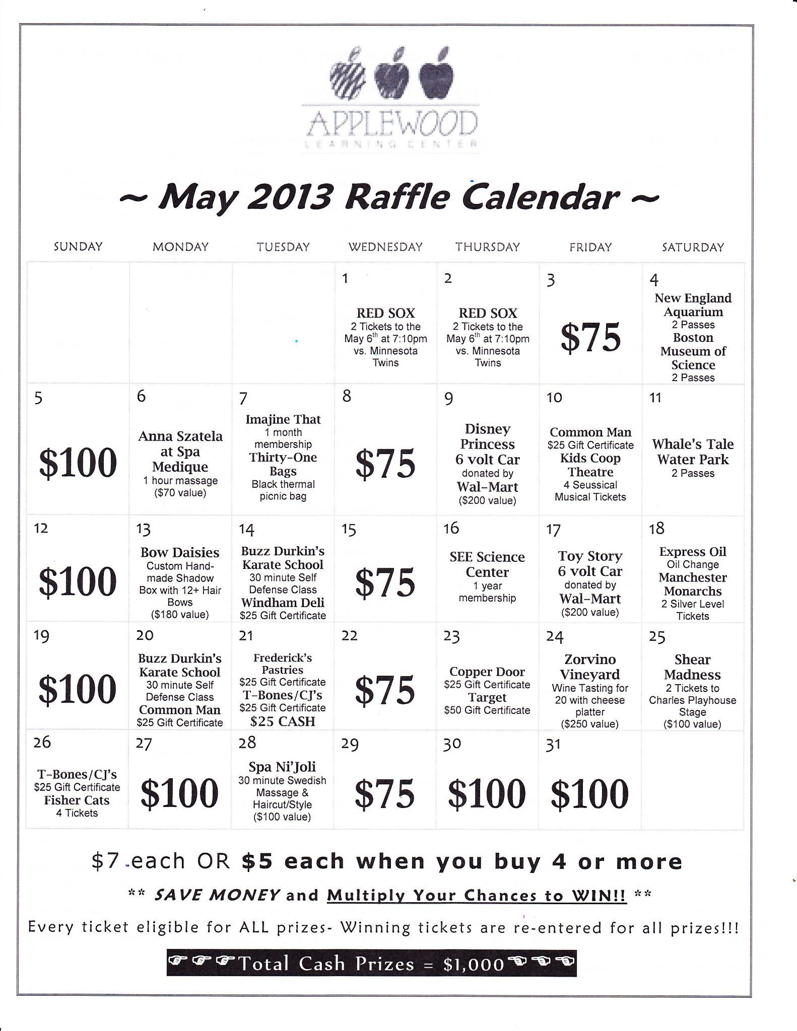 Annual Raffle Calendar Fundraiser | Applewood Learning Center