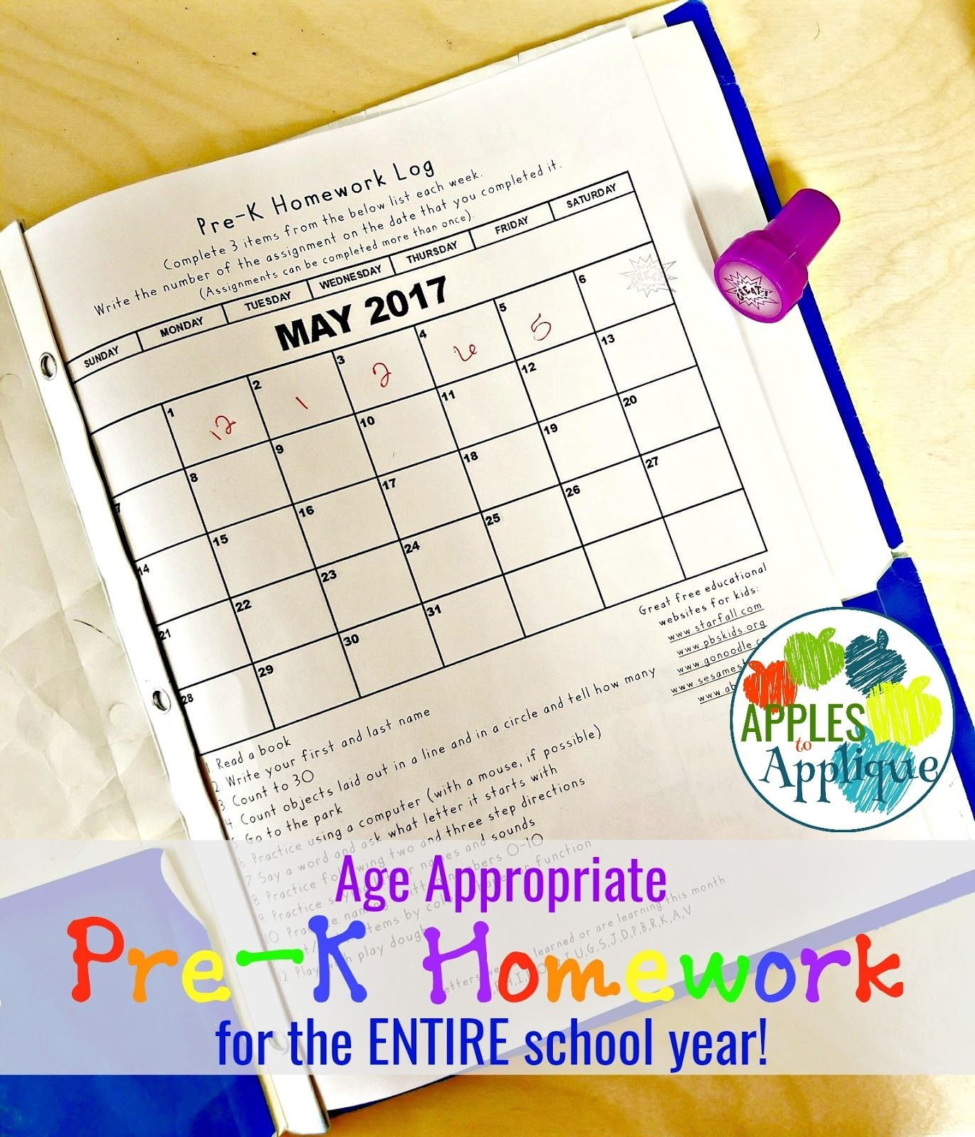 Apples To Applique: Age Appropriate Pre K Homework