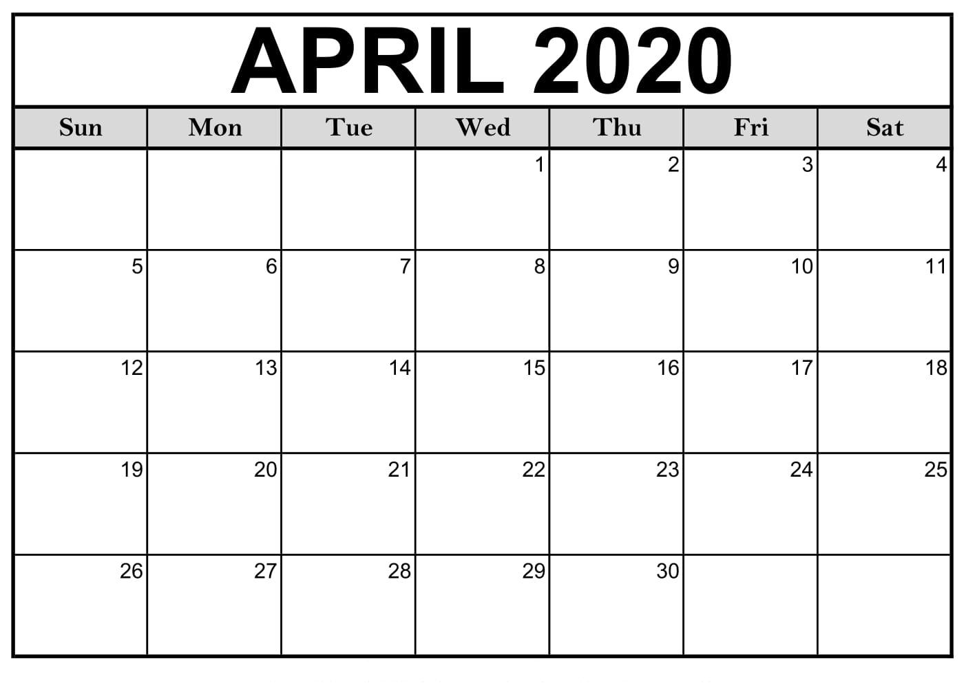 April 2020 Calendar Printable Monthly Calendar |idea