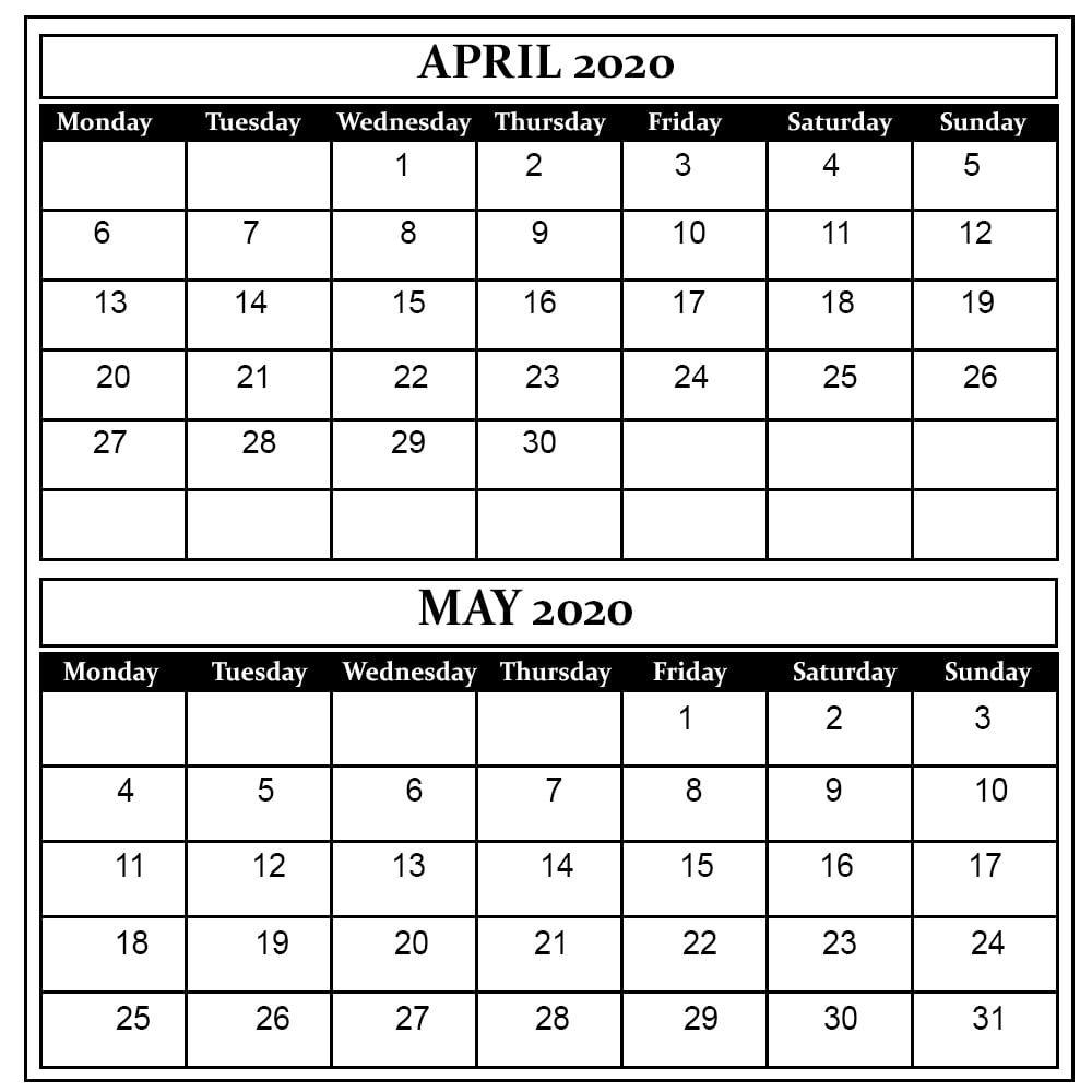 April And May 2020 Printable Calendar 2 Month Calendar