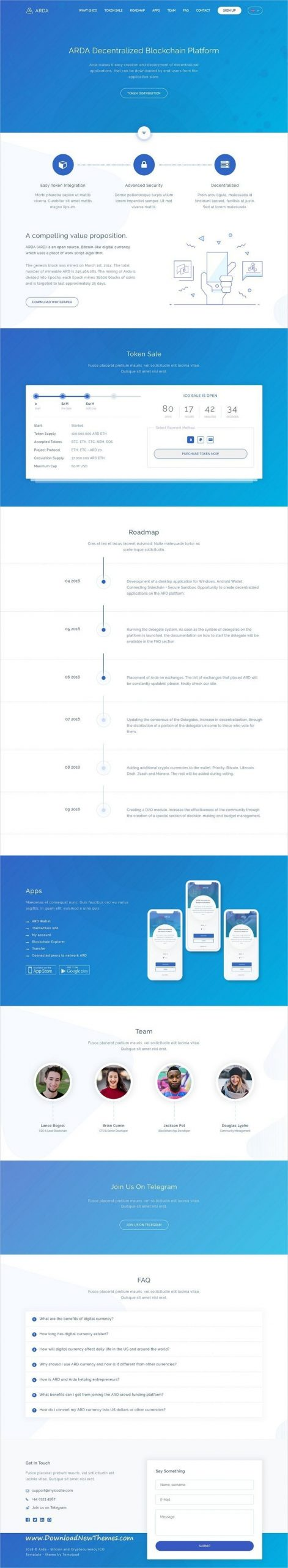 arda bitcoin and cryptocurrency ico html template | design