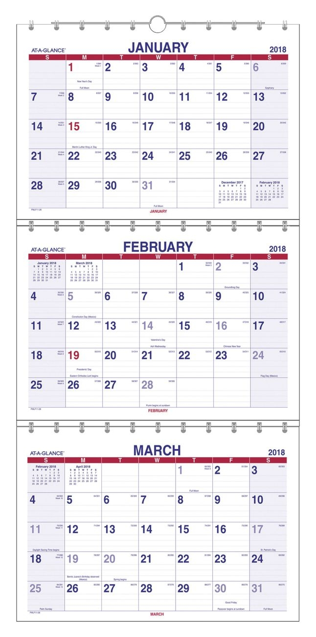 At A Glance Wall Calendar, 3 Month View, Dec Jan, Cream