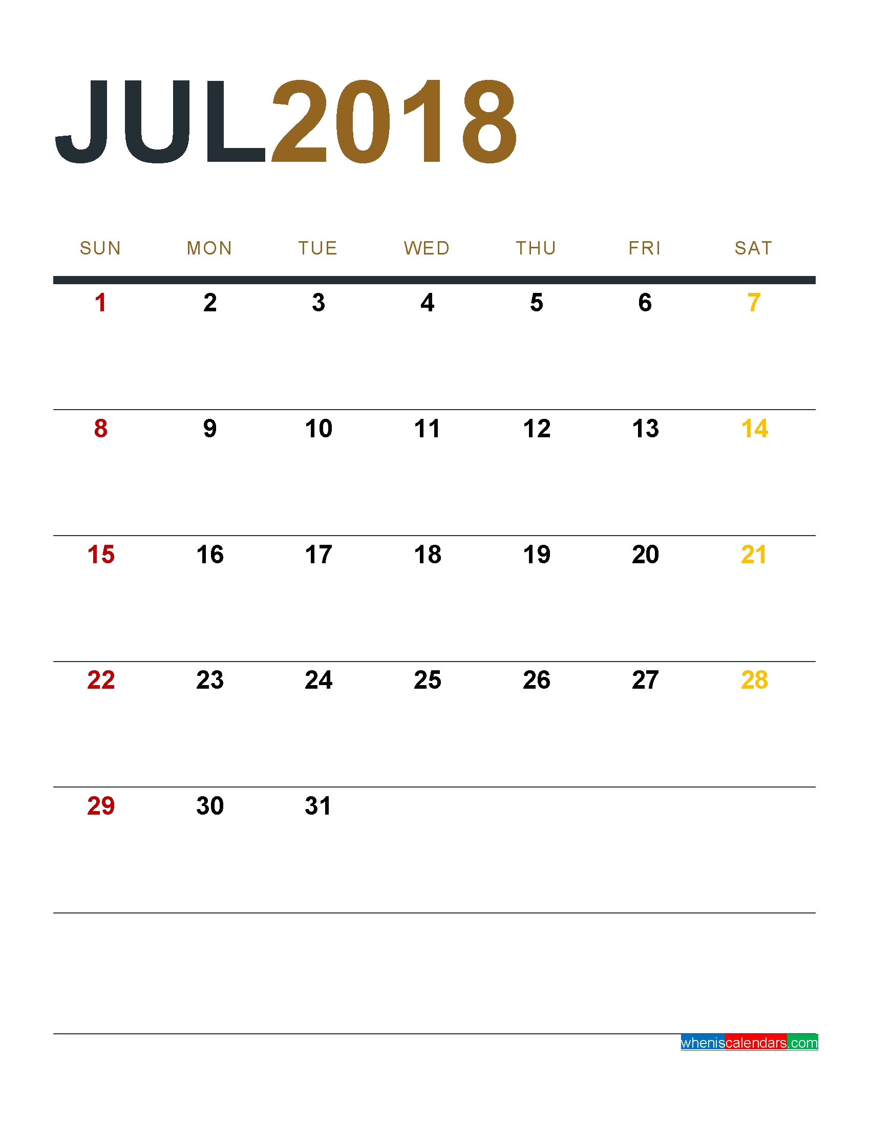 August 2018 Calendar Printable As Pdf And Image 1 Month 1