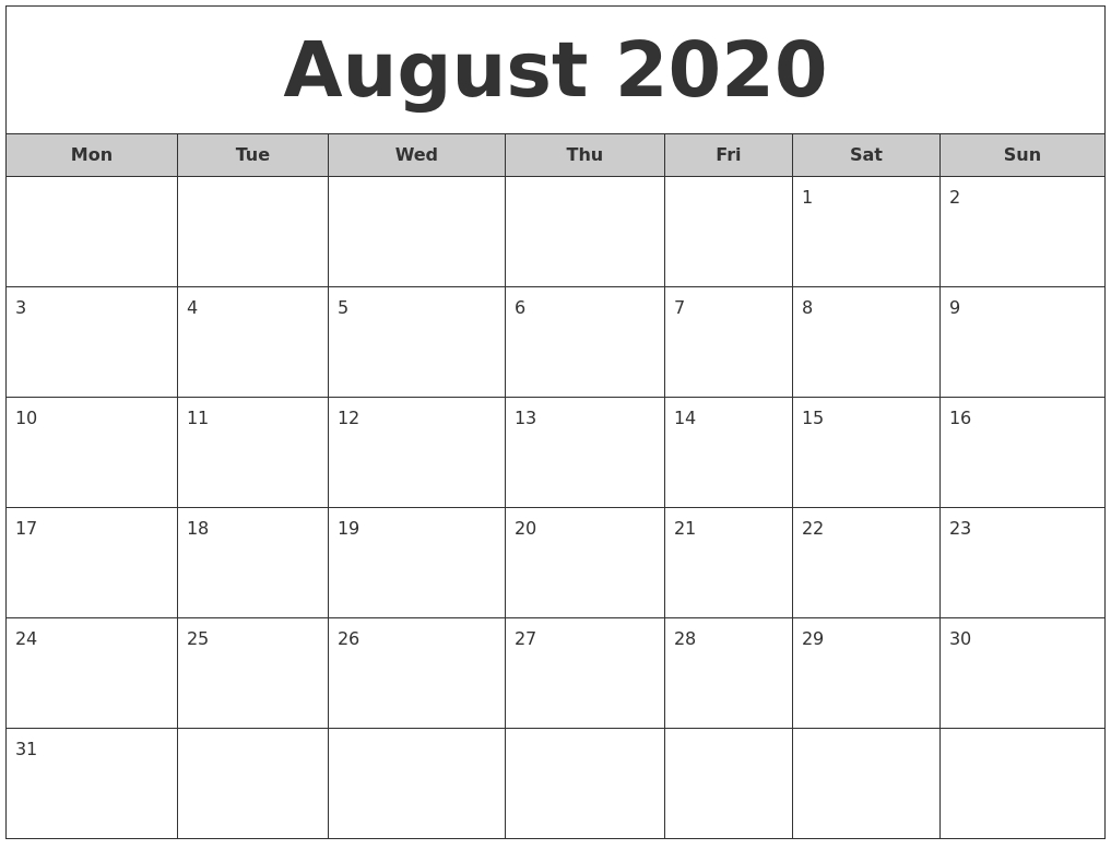 August 2020 Free Monthly Calendar