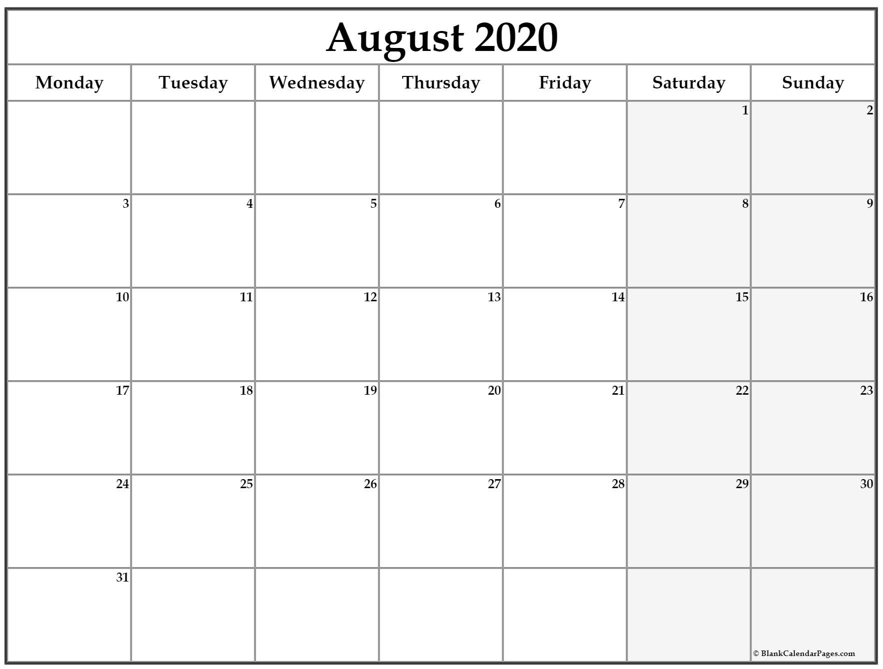 August 2020 Monday Calendar   Monday To Sunday