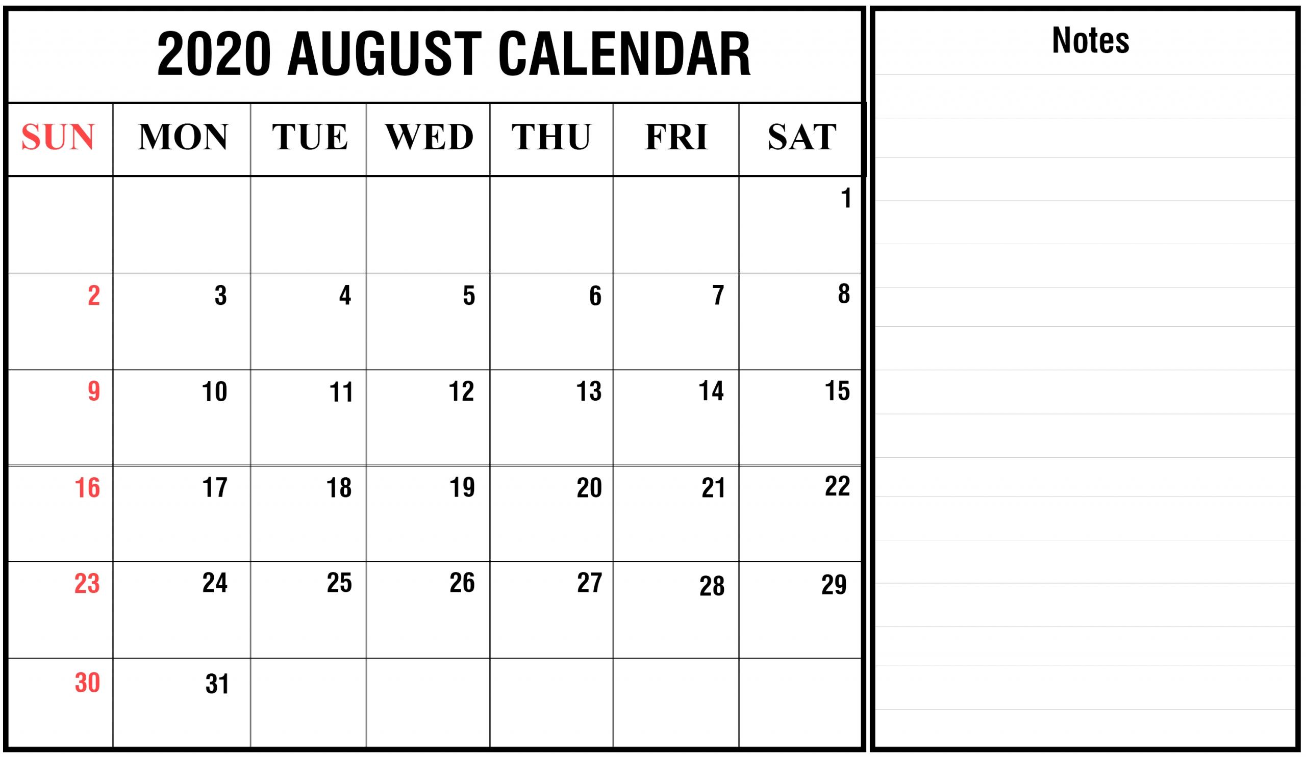August 2020 Printable Calendar Pdf | Blank Printable
