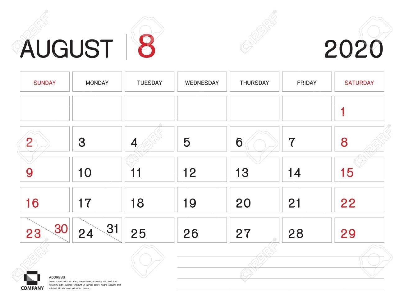 august 2020 year template, calendar 2020 vector, desk calendar