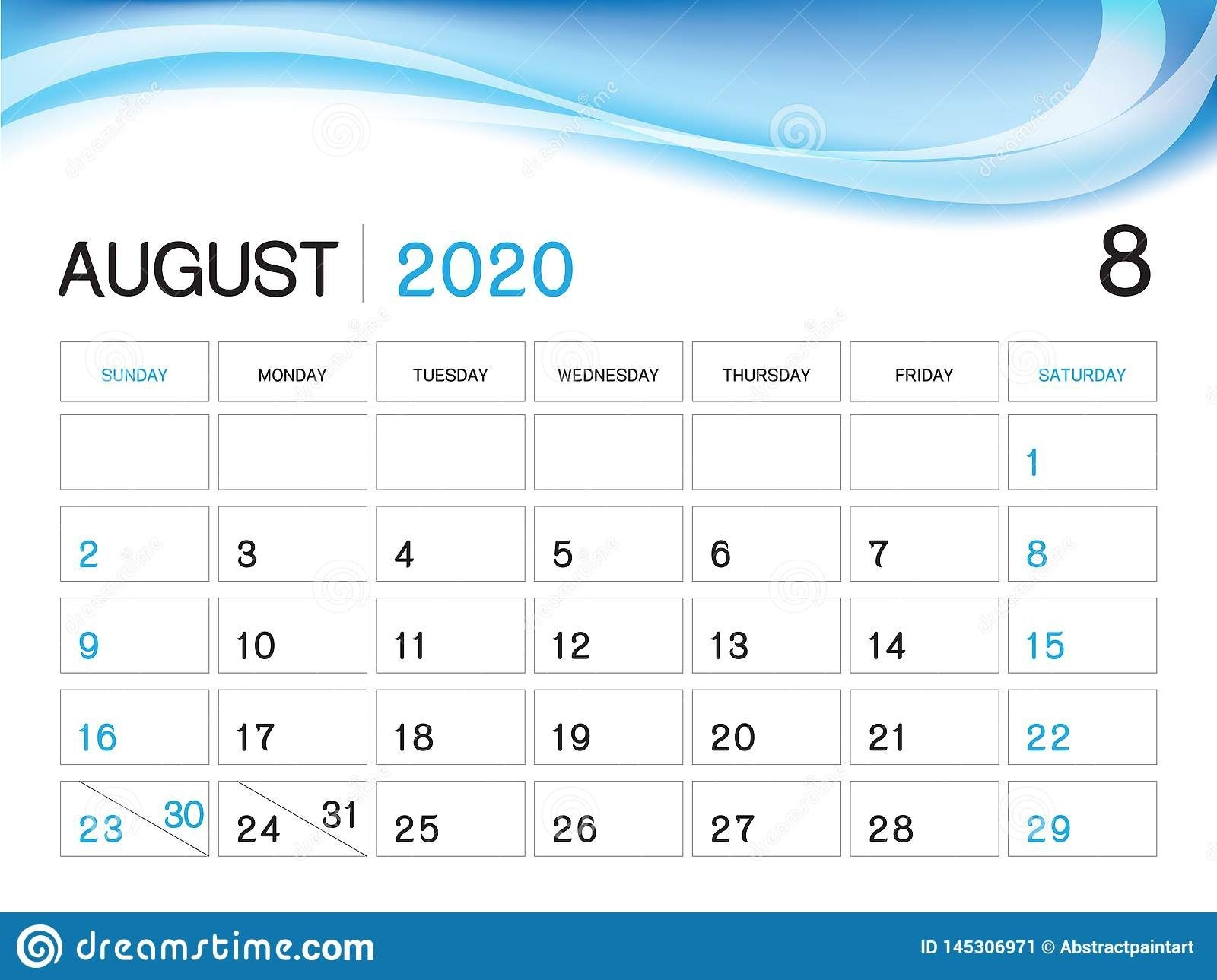 august 2020 year template, calendar 2020 vector, desk