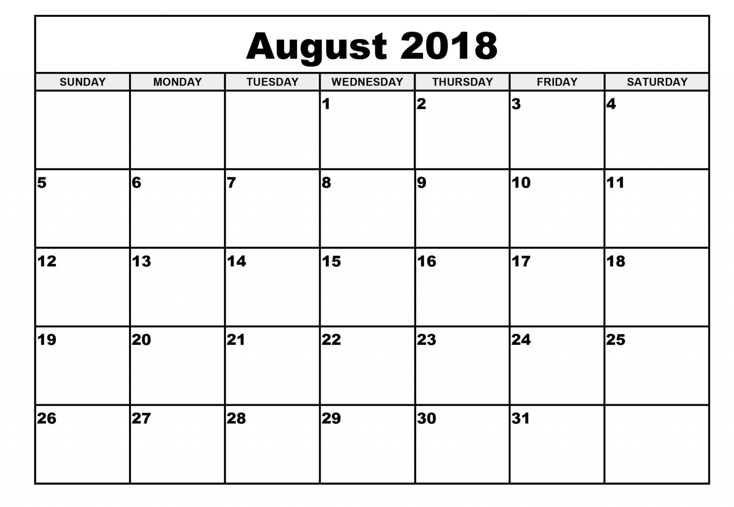 August Printable Calendar 2018 Blank Template | Printable
