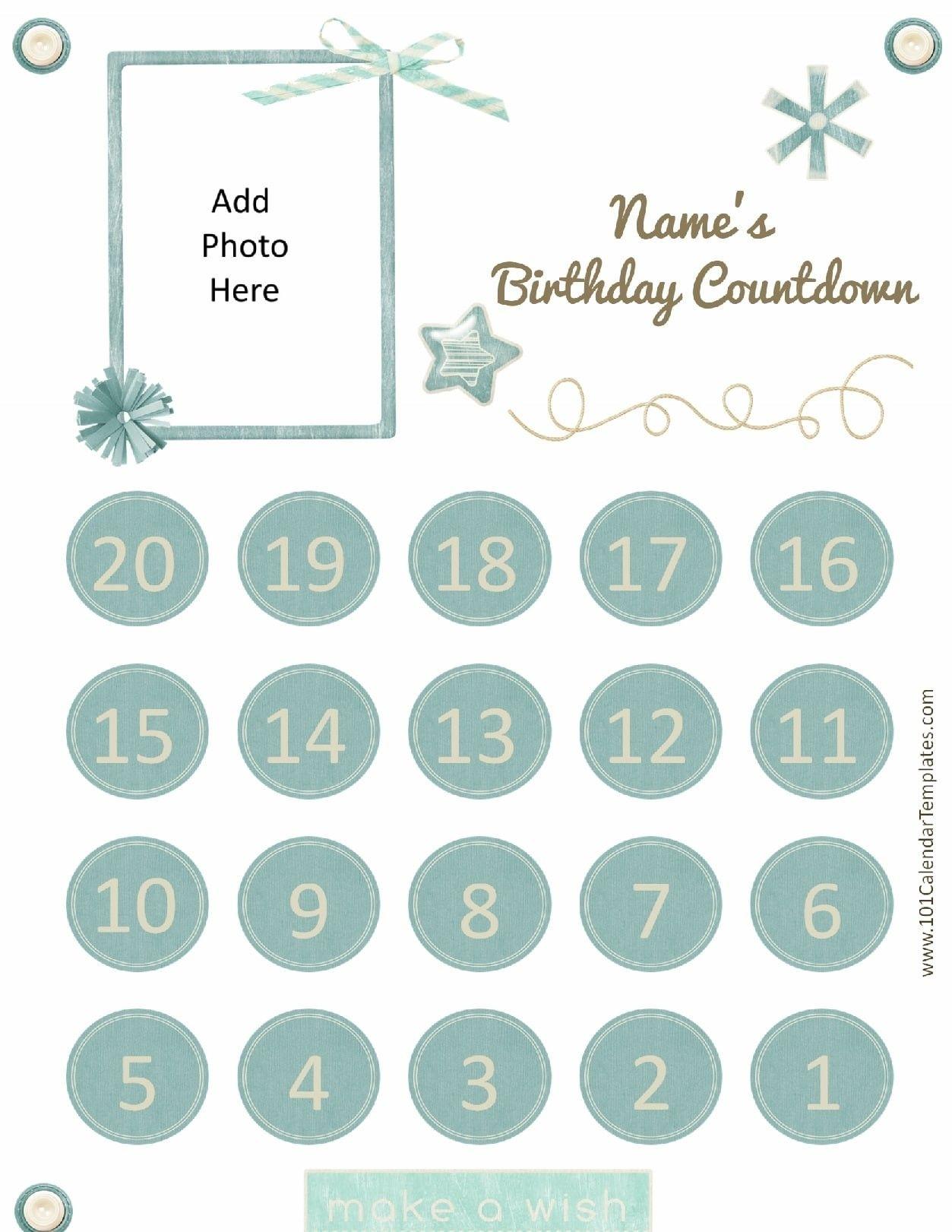 Awesome Printable Birthday Countdown Calendar | Free