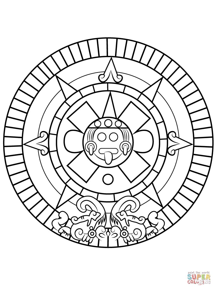 Aztec Sun Stone | Super Coloring | Sun Coloring Pages, Aztec