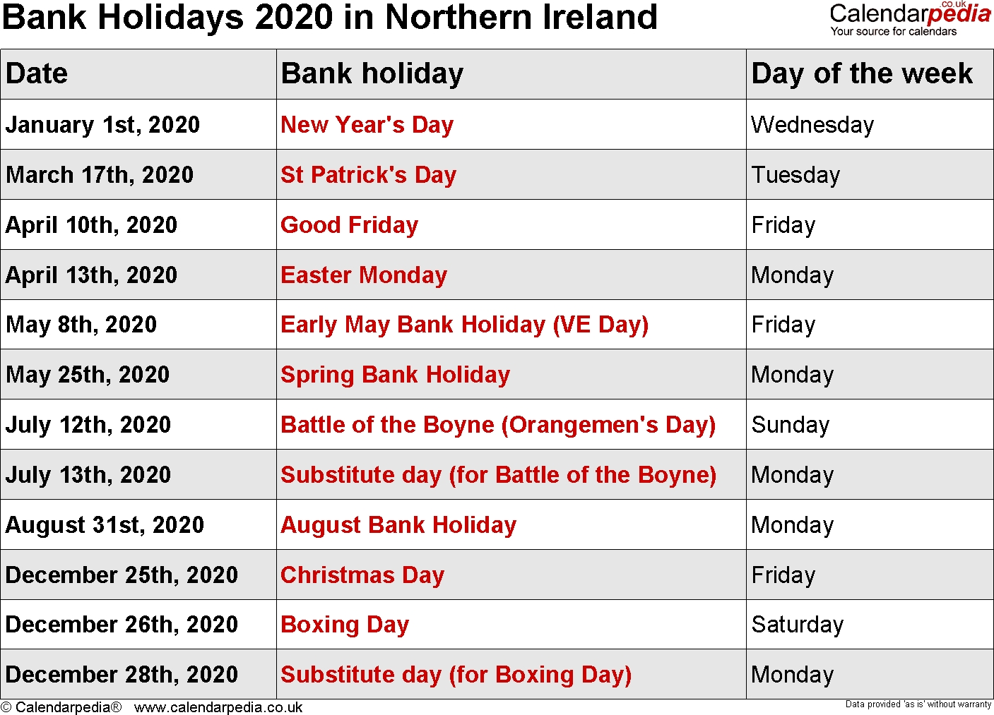 bank holidays 2020 in the uk, with printable templates