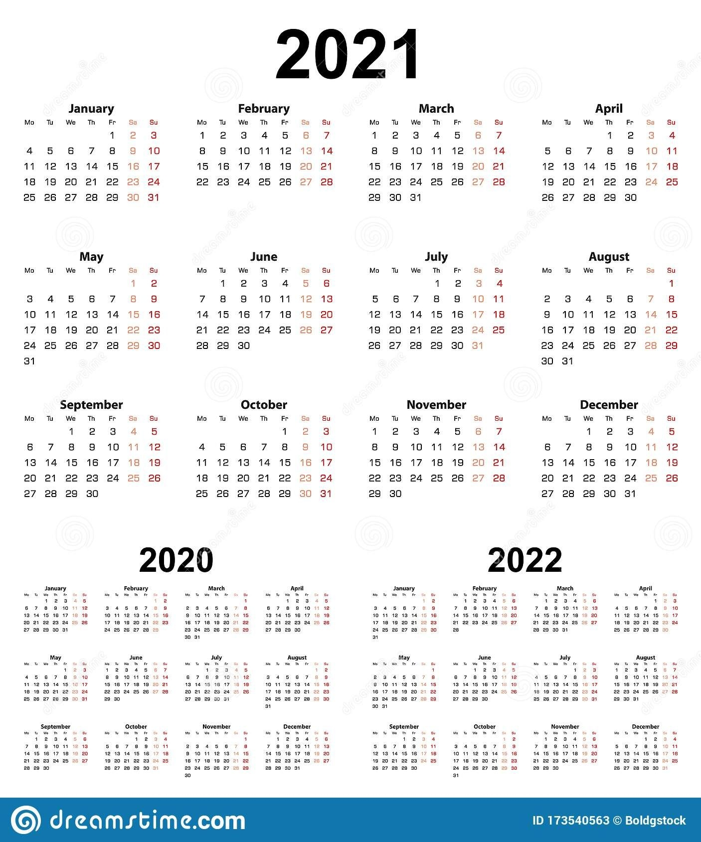 Basic Calendar For Year 2021 And 2020, 2022 Week Starts On
