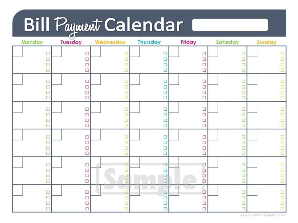 bill payment calendar editable personalfreshandorganized