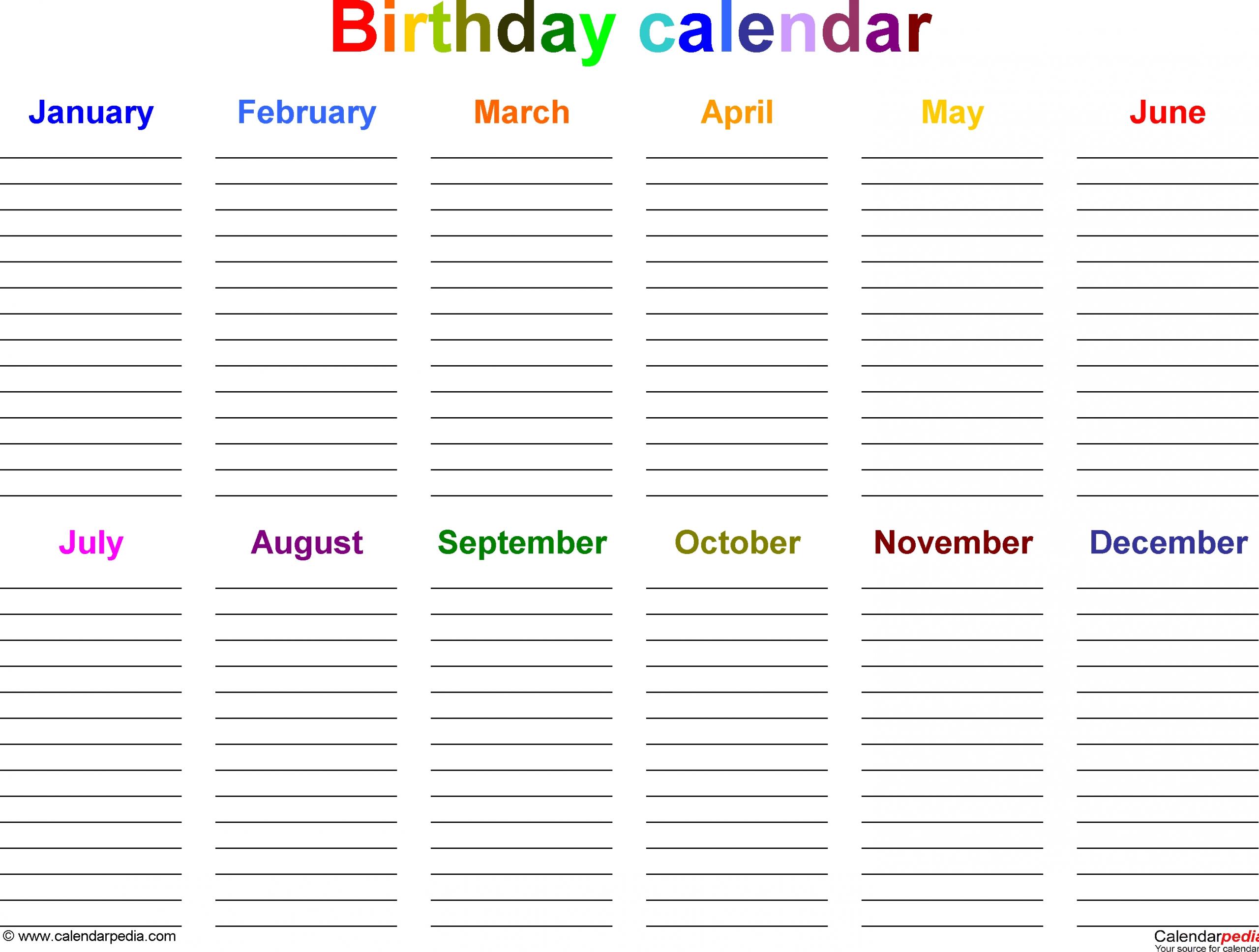 birthday calendars 7 free printable excel templates
