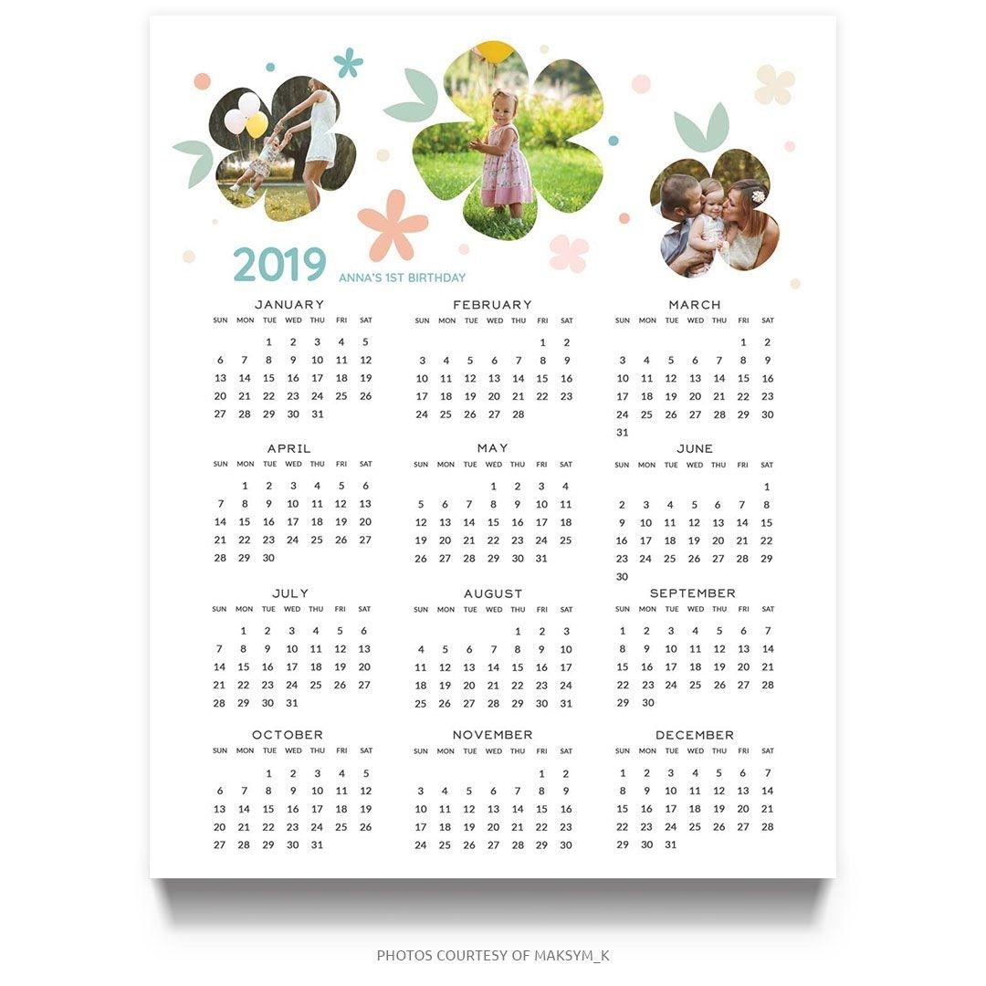 birthday milestone 2019 calendar template (8x10)