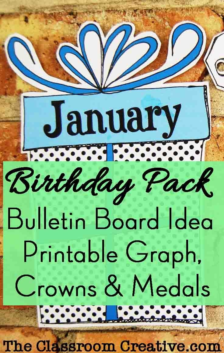 birthday pack: bulletin board idea, graph, printable crowns