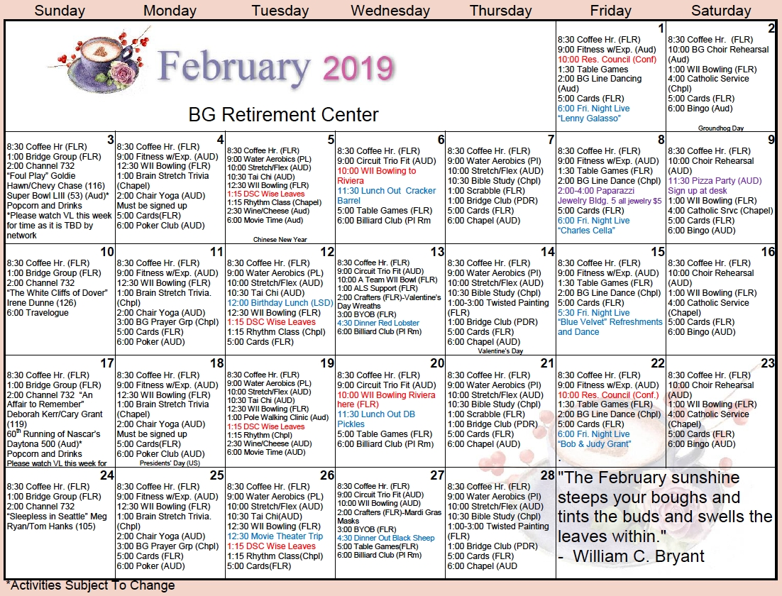bishop's glen february calendar bishop's glen retirement