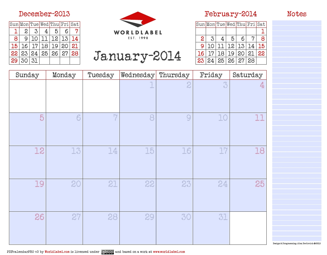 blank 2014 editable fillable pdf calendar pro | free