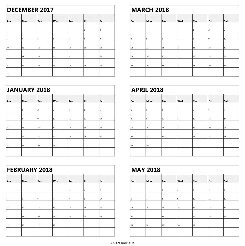 Blank 2017 December To 2018 May Calendar | Half Yearly