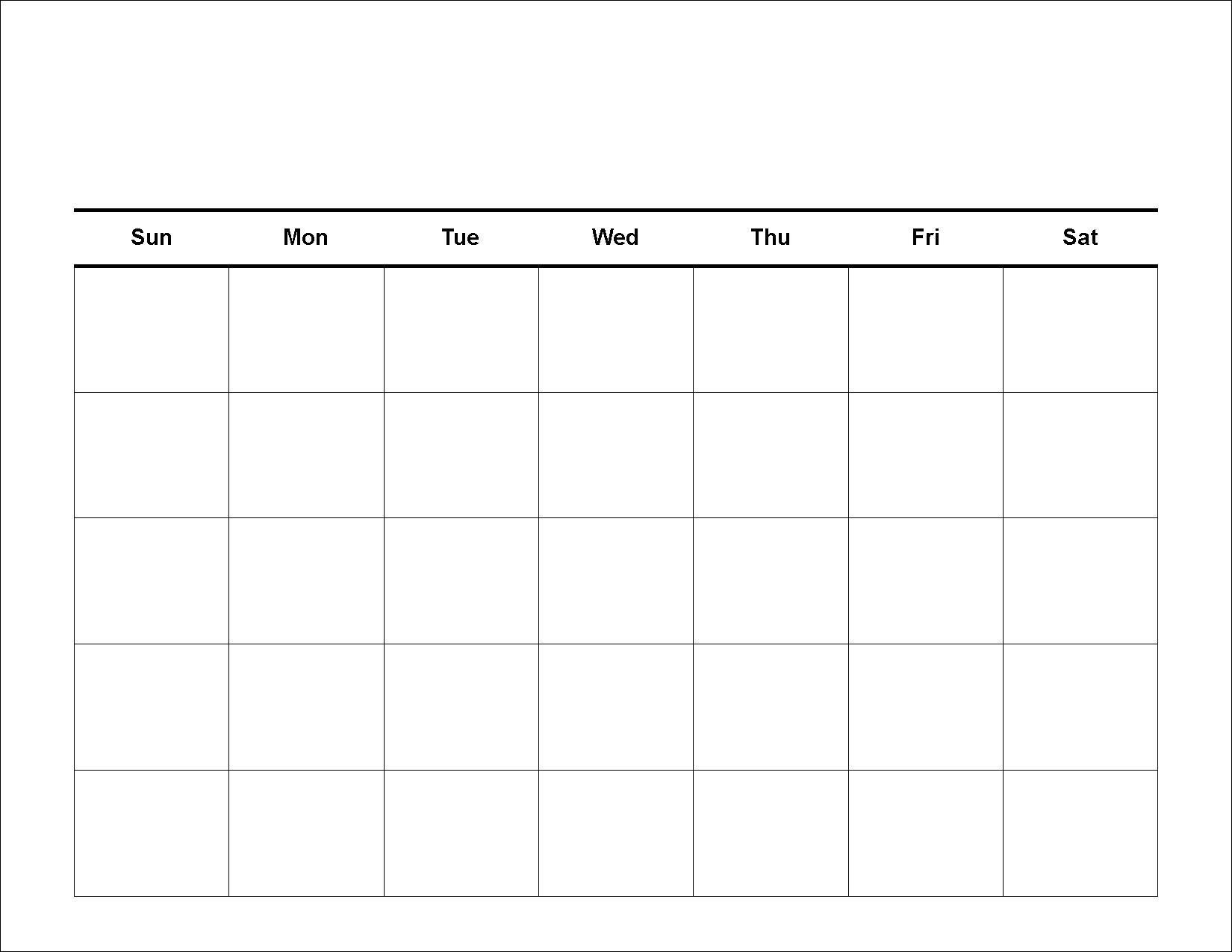 Blank 5 Day Week Calendar | Template Calendar Printable Free