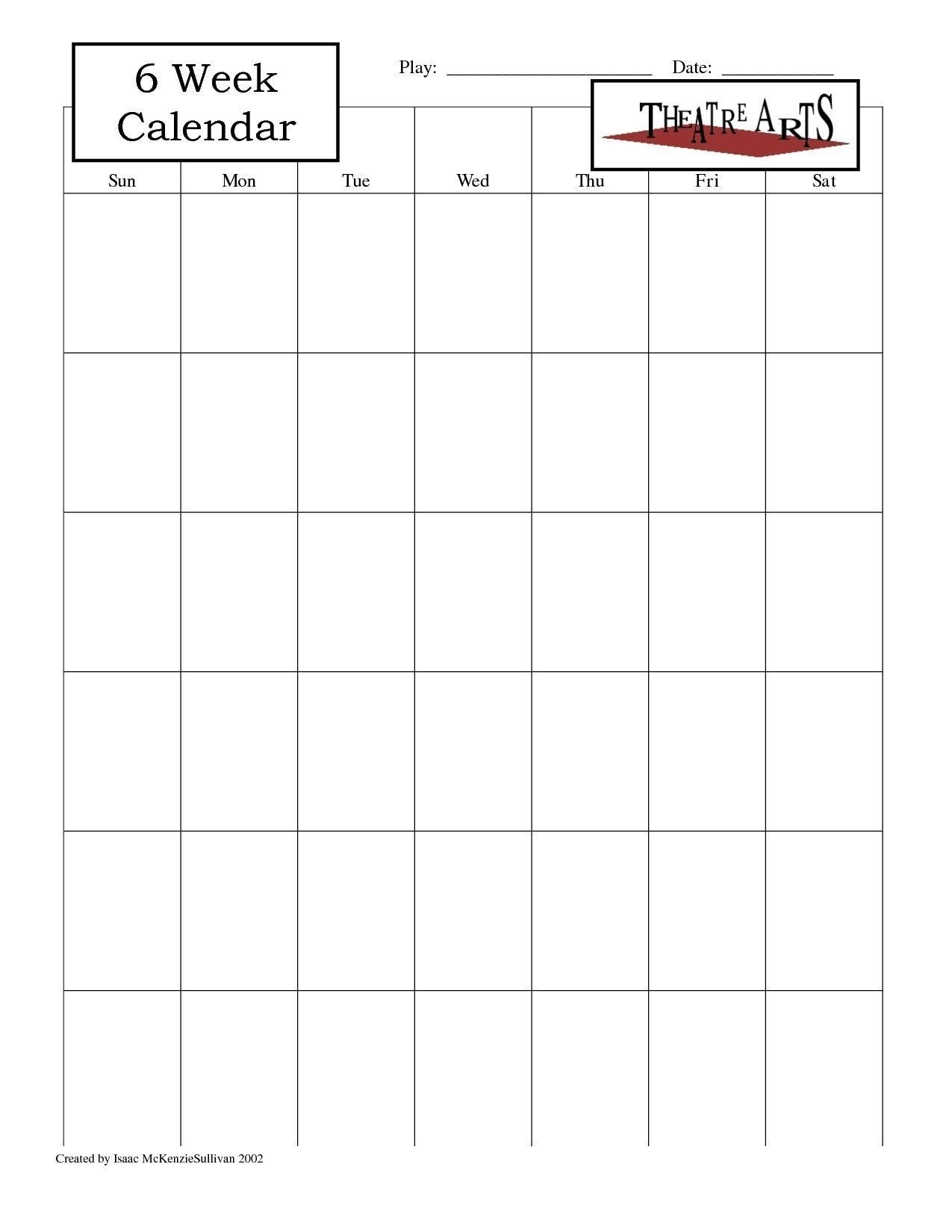 blank 6 week calendar | thekpark hadong dowload | printable