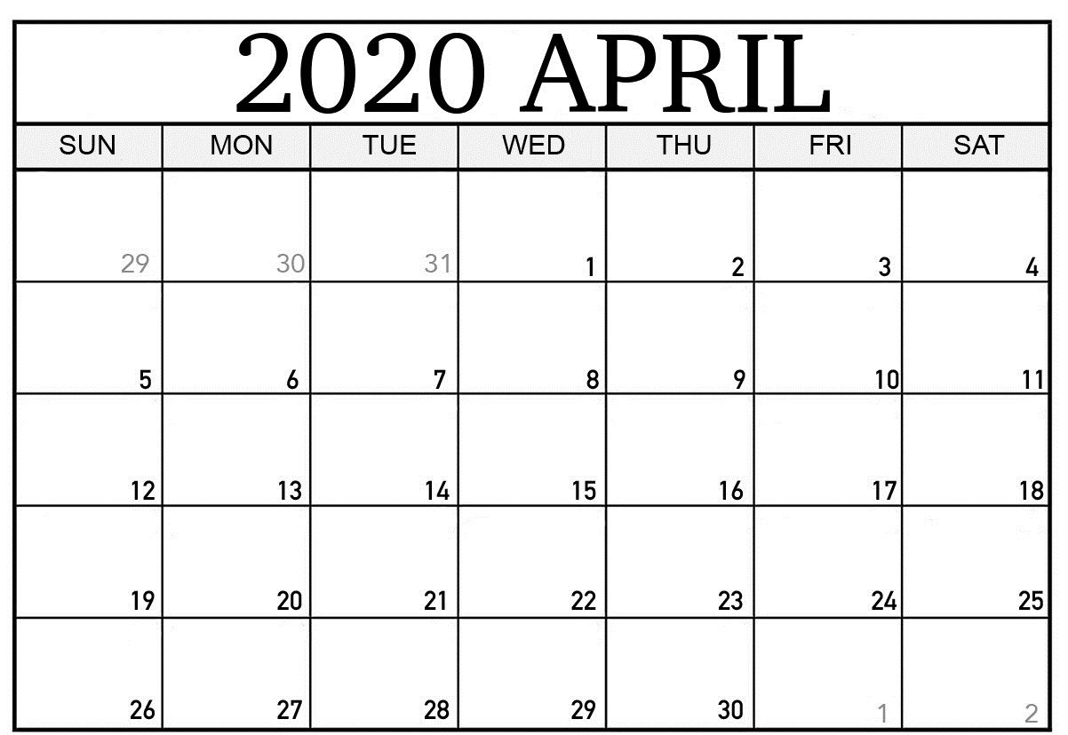 Blank April 2020 Calendar For Employee Attendance | Free