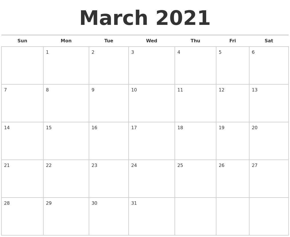 Blank Calendar 2021 March – Allowed In Order To My Blog