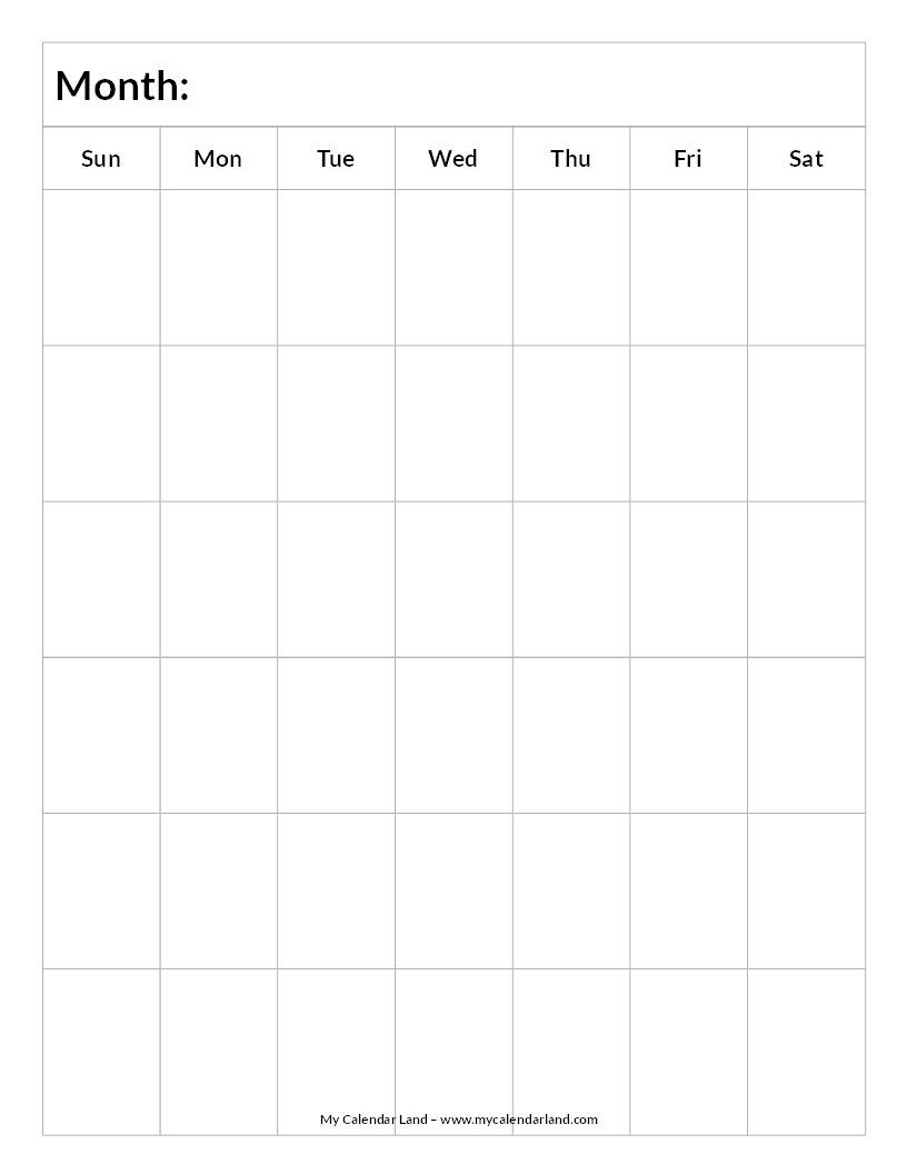 blank calendar printable | printable blank calendar