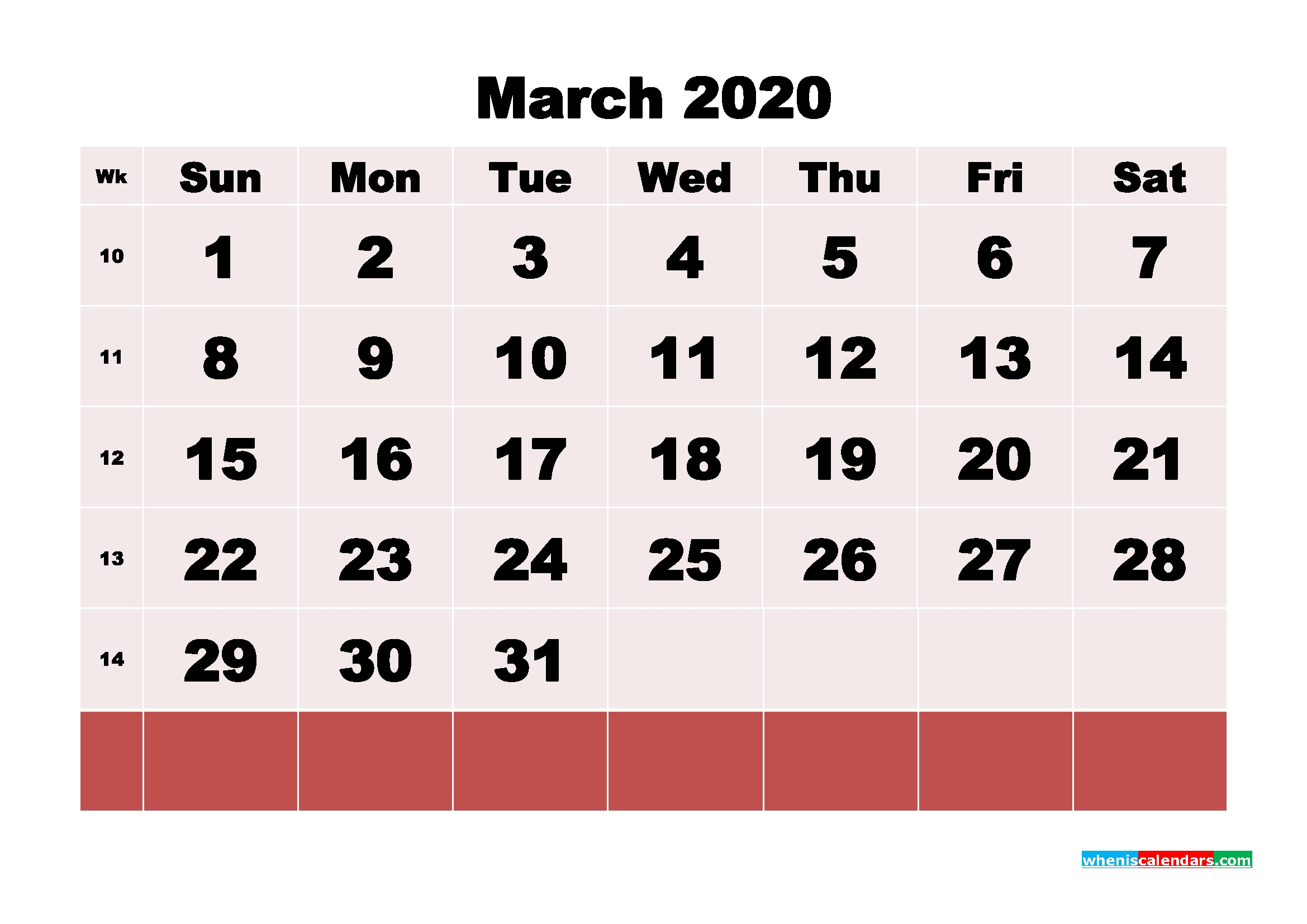 blank march 2020 calendar printable – no m20b123 – free