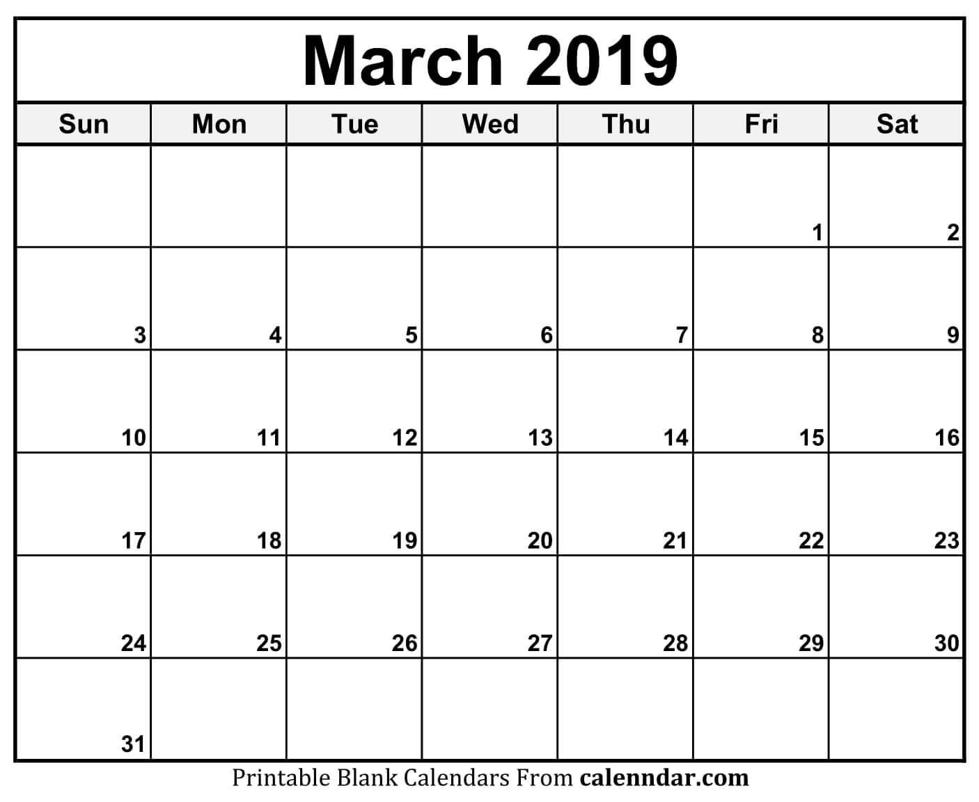 Blank March Month Calendar 2019 Planner | June Calendar