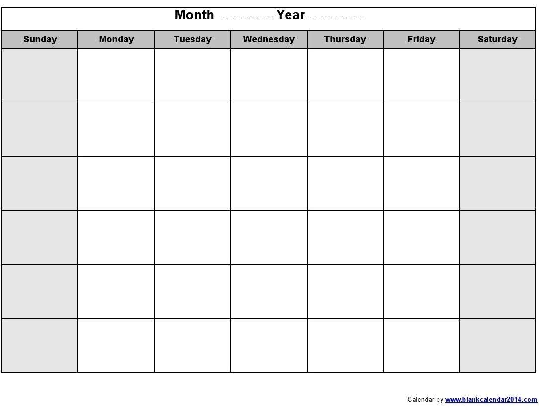 blank monthly calendar 2014 printable | blank monthly