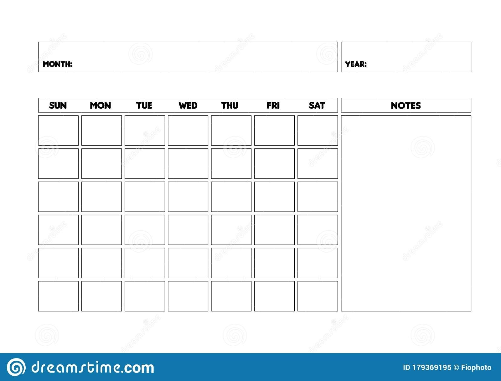 Blank Monthly Calendar Template, Undated Monthly Planner