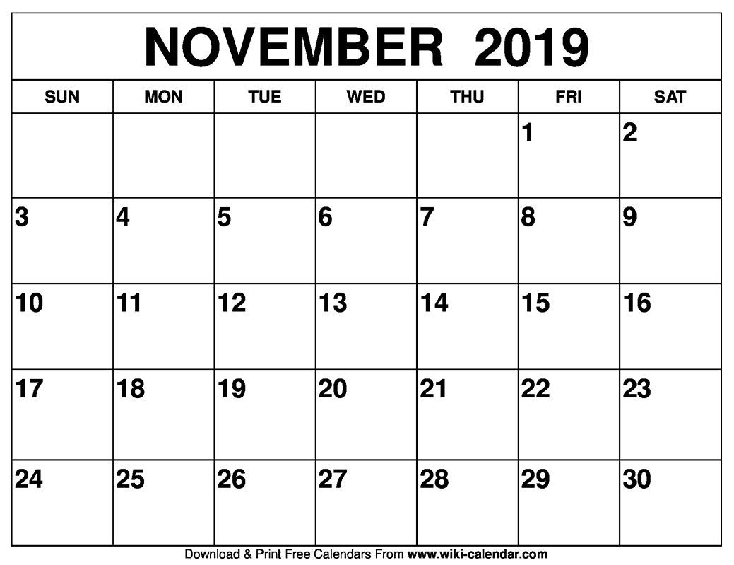 Blank November 2019 Calendar Printable Catch | Printable