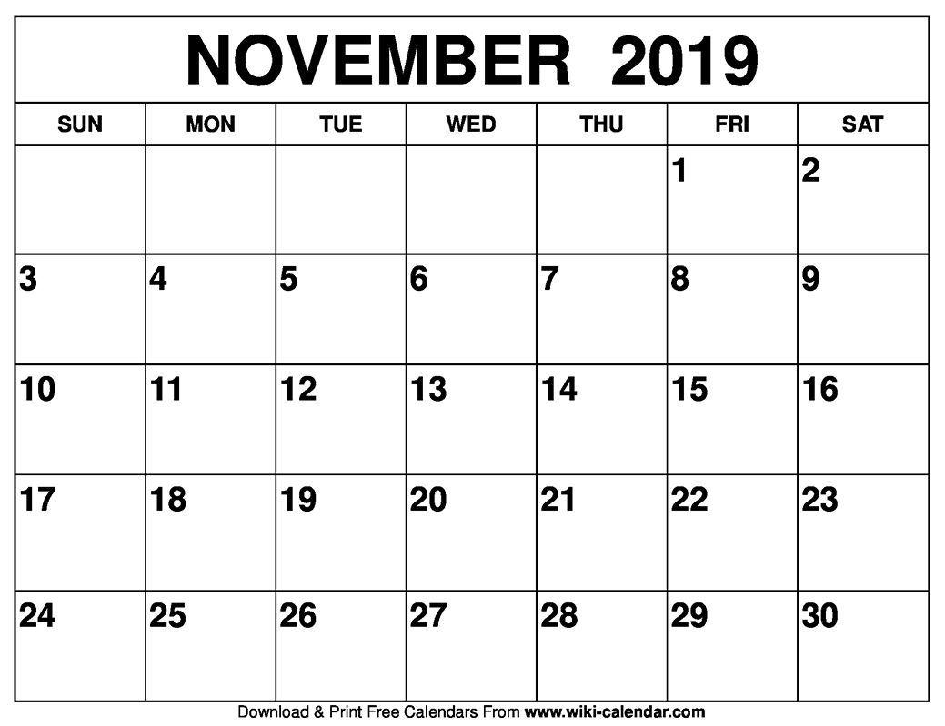blank november 2019 calendar printable catch | printable