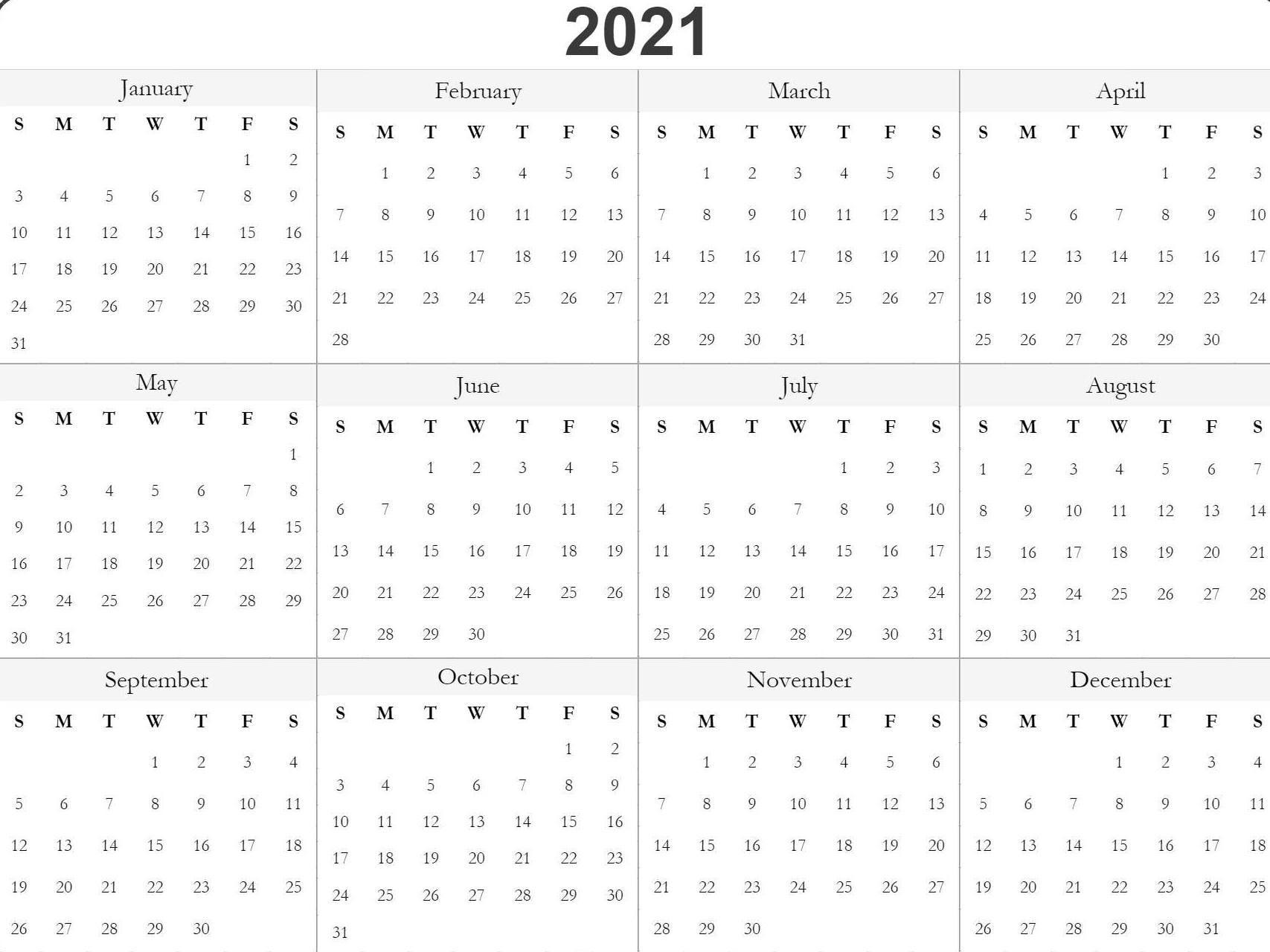 Blank Printable 2021 Calendar Template | Free Printable
