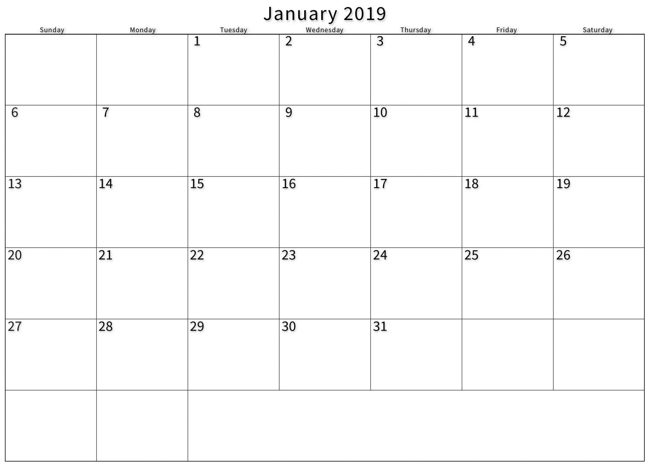 blank printable calendar january 2019 | calendar, blank