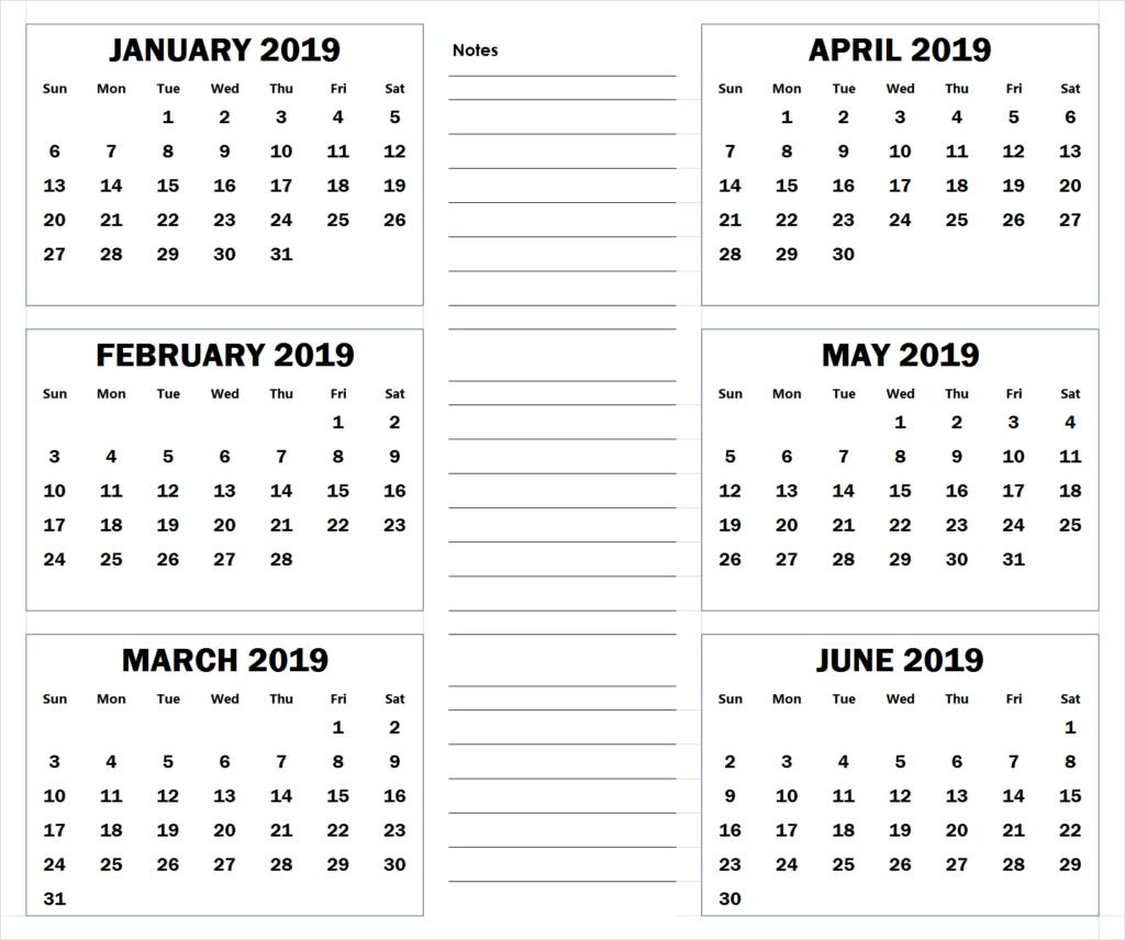 Blank Six Month 2019 Printable Calendar | Calendar