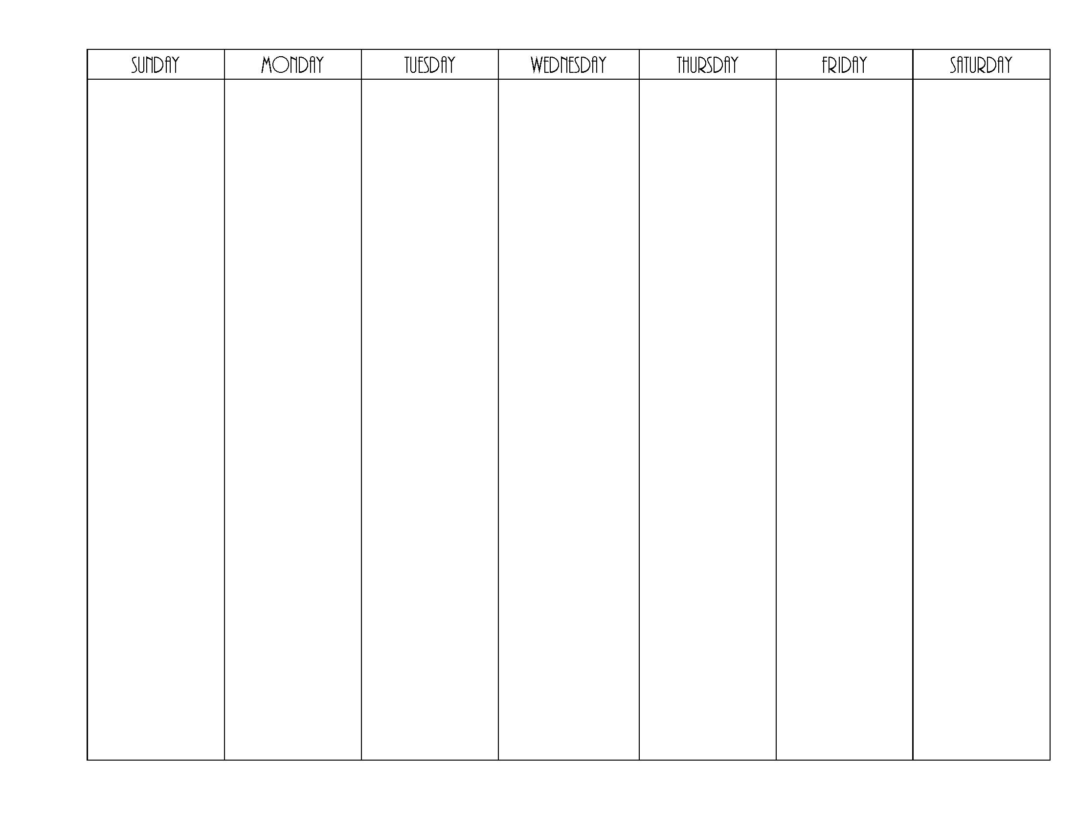 blank weekly calendar | editable pdf, word or image