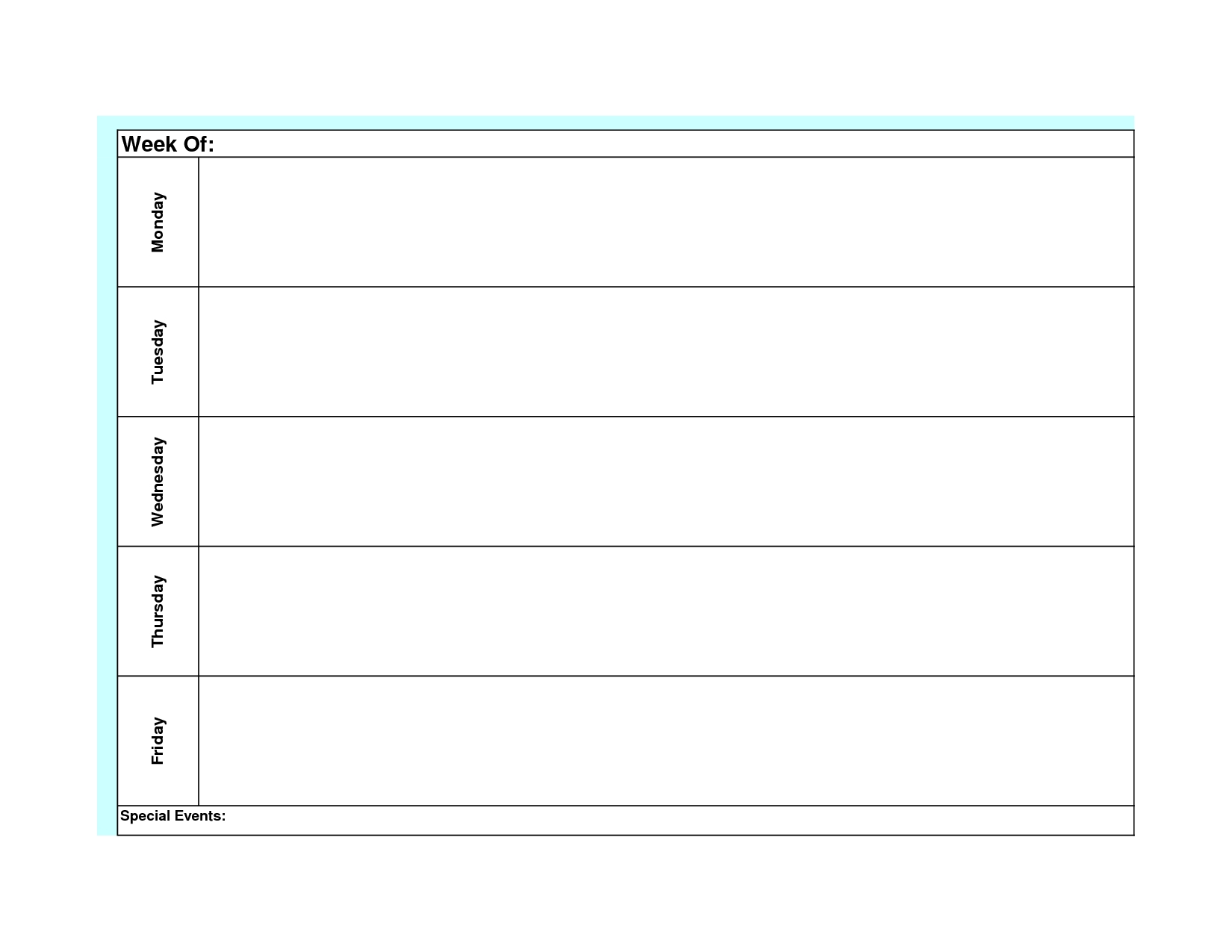 blank weekly calendar template monday friday | weekly